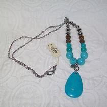 Fossil  Turquoise  Stunning Large Turquoise Teardrop Stainless Steel Necklace Photo
