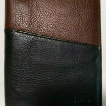 Fossil Tyler Mens Bifold Passport Wallet Case Black Brown 2tone Leather Rfid Nwt Photo