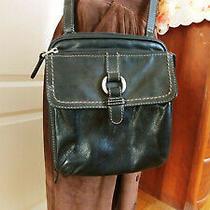 Fossil Unisex Black Leather Crossbody Messenger Handbag Wallet Shoulder Bag Photo