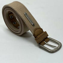 Fossil Utility Gear Mens Belt Web Brown Leather Trim Size 38 Reinforced Holes Photo
