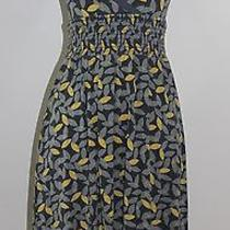 Fossil v Neck Short Sleeve Long Dress Size Small Leafs Yellow Gray Photo