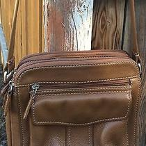Fossil Vintage American Classic Caramel Leather Organizer Cross Body Bag 75082 Photo