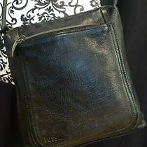 Fossil Vintage Black Brown Pebbled  Leather Crossbody Bag Purse Photo