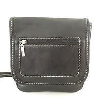 Fossil Vintage Black Leather Crossbody Handbag Photo