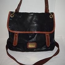 Fossil Vintage Black Leather Flap Top Hobo Shoulder Crossbody Handbag Photo