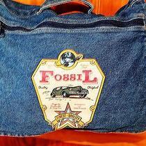 Fossil Vintage Blue Jeans Knapsackcrossbody Sachel Rugged Rare Handbag Photo