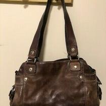 Fossil Vintage Brown Leather 3-Compartment Handbag Purse 2 Straps W  Logo Key Photo