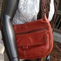 Fossil Vintage Burnt Orange Small Leather Shoulder Bag Mint Free Scarf Nwt Photo