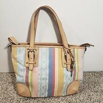 Fossil Vintage Canvas Multi-Pastel Stripe & Logo Bag With Leather Trim W/key Photo