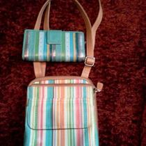 Fossil Vintage Crossbody Purse and Wallet Set Stripes  Photo