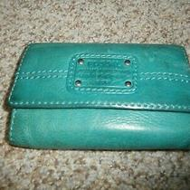 Fossil Vintage Green Leather Trifold Clutch Wallet  Logo Photo