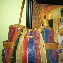 Fossil Vintage Leather Striped Purse Handbag Funky Rare Unique Boho Satchel Key Photo