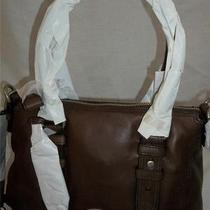 Fossil Vintage Maddox Large Leather Zip Satchel Tote Handbag Espresso 218 Nwt Photo
