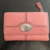 Fossil Vintage Maddox Trifold Multifunction Wallet Clutch Euc Pinkrose Photo
