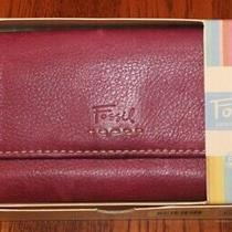 Fossil Vintage Purple Leather Trifold Wallet/ Checkbook/ Credit Card Organizer Photo