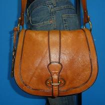 Fossil Vintage Re-Issue Flap Crossbody Cognac Brown Leather Satchel Bag Purse Photo