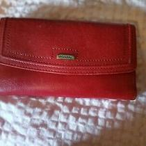 Fossil Vintage Red Leather Clutch Wallet Euc Photo