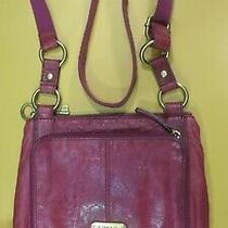 Fossil Vintage Red Leather Crossbody Organizer Shoulder Bag Purse Preowned Photo