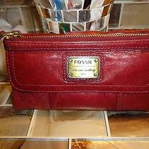 Fossil Vintage Red Leather Wallet Photo