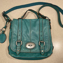 Fossil Vintage Reissue Blue Green Leather Crossbody Purse Bag Photo