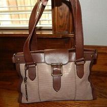 Fossil Vintage Reissue Brown Key Leather Satchel Two Tone Shoulder Handbag Tote Photo
