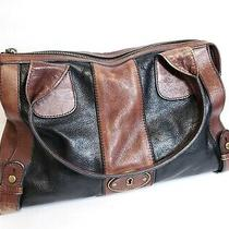 Fossil Vintage Reissue Brown Two Tone Leather Satchel Shoulder Bag Tote Carryall Photo