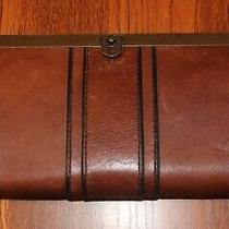 Fossil Vintage Reissue Camel Tan Soft Leather Frame Clutch Purse Wallet Photo