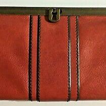 Fossil Vintage Reissue Clutch Red Leather Frame Clutch Purse Oversized Wallet Photo