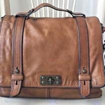 Fossil Vintage Reissue Cognac Leather Crossbody Messenger Shoulder Laptop Bag Photo