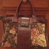 Fossil Vintage Reissue Floral Satchel Handbag Velvet Velour Tote Photo