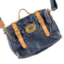 Fossil Vintage Reissue Navy Blue Leather Satchel Messenger Crossbody Bag Photo