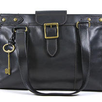 Fossil Vintage Revival East West Satchel Shoulder Bag Black New Photo