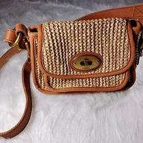 Fossil Vintage Small Straw Leather and Canvas Cross Body Bag Photo