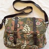 Fossil Vintage Stock Canvas Flower Print Cross Body Messenger Bag Laptop Photo