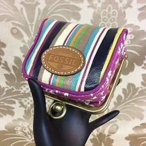 Fossil Vintage Striped Coin Purse Key-Per Birds and Stripes Photo