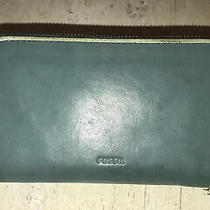 Fossil Vintage Teal Leather Zip Around Phone Clutch Wallet Sl7244 Euc Photo
