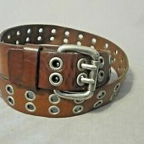 Fossil Vintage Unisex Brown Double Grommet Leather Belt Size 38