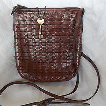Fossil Vintage Weaved All Leather Crossbody Purse Photo