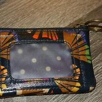 Fossil Vinyl Coated Canvas  Zippered Coin I.d. Wallet Blue Floral Euc  Photo