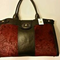 Fossil Vri Turnlock Closure Cramberry/black Leather Weekender 3 Tote Bag Purse  Photo