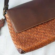 Fossil Vtg Boho Lagenlook Woven Wicker & Brown Leather Shoulder Bagwood Fobhtf Photo