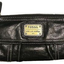 Fossil Wallet Black Emory Long Live Vintage 1954 Large Leather Clutch Photo
