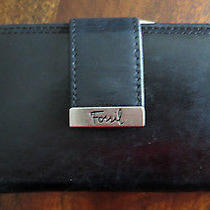 Fossil Wallet Black Leather Tab Clutch Check Book Wallet Photo