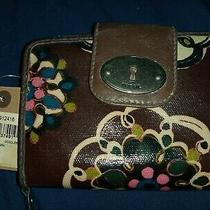 Fossil Wallet Brown Wristlet Leather Zip Snap Clutch Vintage Florals  Photo