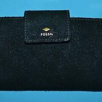 Fossil Wallet Card Clutch Sydney Black Touch of Sparkle Suede Leather Woman Lknw Photo