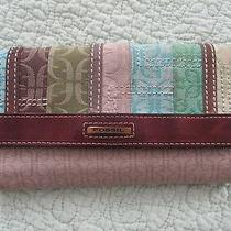 Fossil Wallet Check Book Taupe Green Blue Fabric Leather Accent With Suede Photo