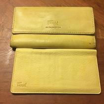Fossil Wallet Clutch & Check Book Cover Yellow Leather Photo