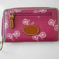 Fossil Wallet Clutch Coated Canvas Zip Around Photo
