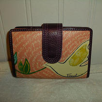 Fossil Wallet Coin Purse Organizer Painted Leather Brown Green Pink Purple Nwot Photo