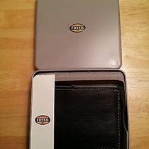 Fossil Wallet Lane Black Leather Bifold Nwt and Gift Tin Photo